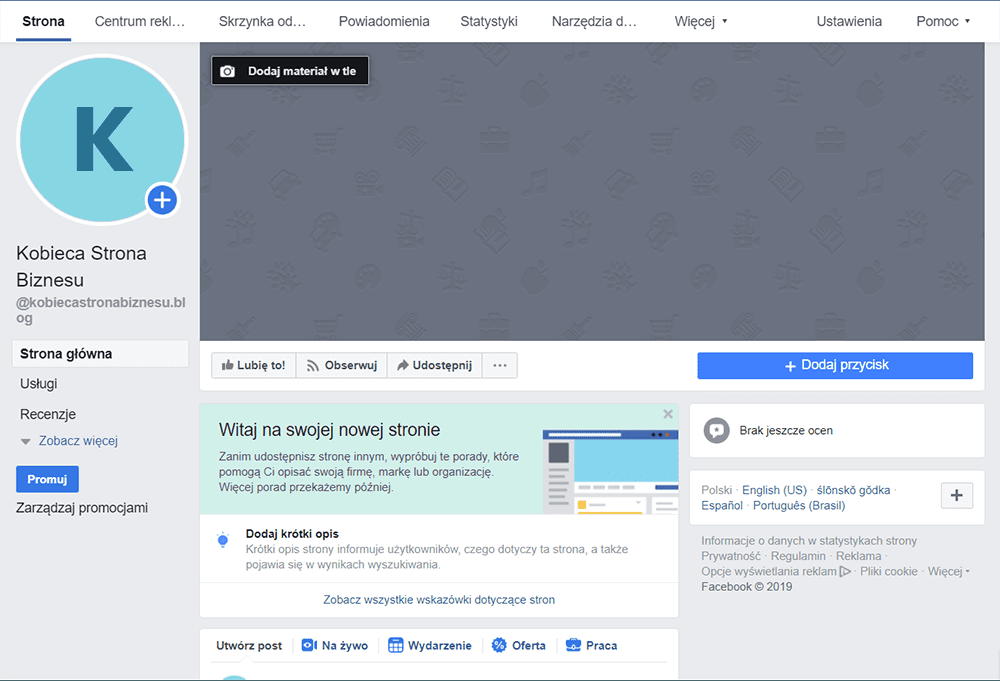 Opis fanpage naFacebooku - social media, promocja, kobieca marka, Kobieca Strona Biznesu